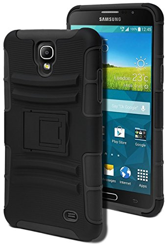 Samsung Galaxy Mega 2 Case,[ BABA] Dual Layer Rugged Holster High Impact Resistant Armor Defender Full Body Protective Case Cover with Kickstand and Belt Swivel Clip – Black (Samsung 2 Mega Case Galaxy)