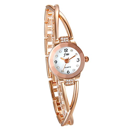 JewelryWe Juego de Pulsera con Reloj Oro Rosa, Moda 2016 Reloj de Diamantes Brillantes Con Pulsera de Números Romanos, Precioso Regalo de Navidad para Chicas Mujeres