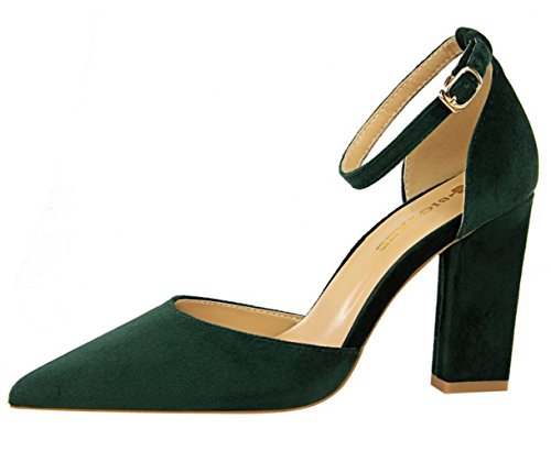 DADAWEN Women's Pointed Toe Block Heel Ankle Strap Dress Pumps Wedding Bridal Court Shoes Green