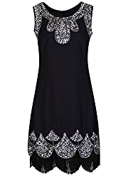 Women's Sequin Embellished Beaded Flapper Dress