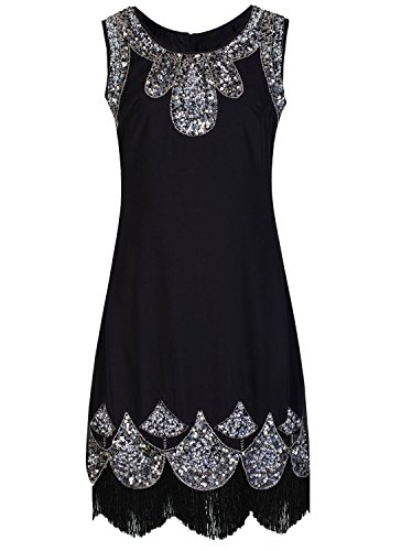 Vijiv Women's 1920s Vintage Embellished Sequin Beaded Flapper Evening Dress, Medium, Black (Flapper Apparel)