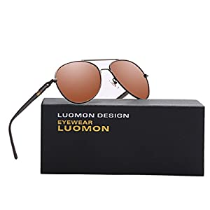 LUOMON MB209 Brown Frame/Brown Lens Polarized Aviator Sunglasses