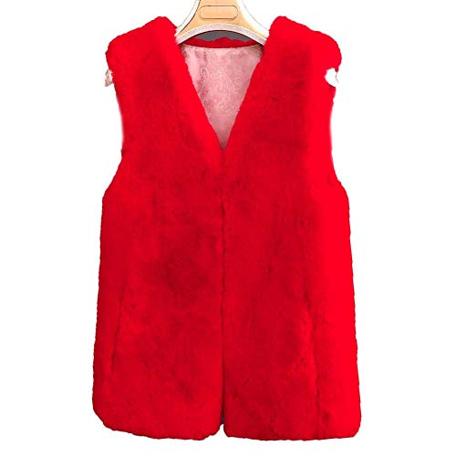Red Gilet Gilet Chaud Fourrure FOLOBE Womens'hiver Fausse Courte O70OqPg