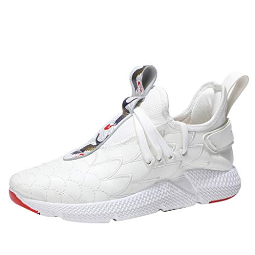 Haalife◕‿Men's high top Sneakers Mesh Lightweight Breathable Athletic Running Walking Gym Shoes Fashion Personality Shoe White