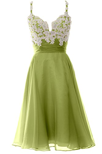 MACloth Women Strap Short Lace Chiffon Cocktail Dress Short Prom Formal Gown (Custom Size, Olive Green)