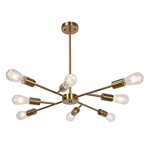 Mid Century Modern Industrial Chandelier, 8 Light (Bulb not...