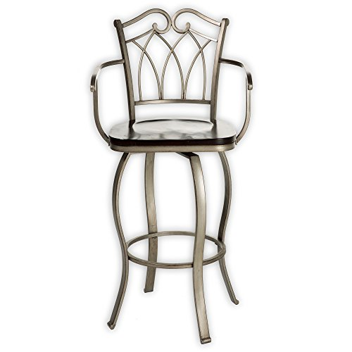 Richmond Metal Bar Stool with Dark Walnut Swivel-Seat and Mottled Silver Frame Finish, (Slope Arm)