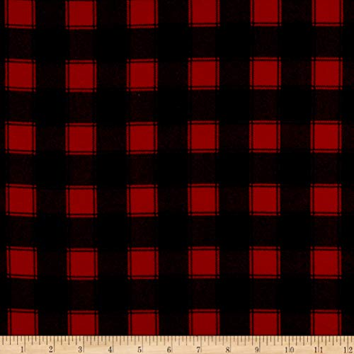 Timeless Treasures Flannel Buffalo Check Red Fabric by The Yard