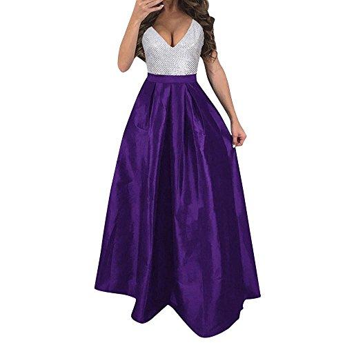 2018 Clearance Women Dresses Plus Size, Sexy Summer Prom Dress Maxi Dress Clubwear for Party Wedding Bridesmaid (Purple, XXL/US 10)