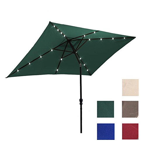 ADA Kosycosy 6.6X10 ft LED Lighted Patio Umbrella Rectangular LED Solar Power Table Market Umbrella, with Tilt Adjustment and Crank Lift System, Perfect for Outdoors, Patio, or any Parties (Green) (Rectangular Green Picnic Table)