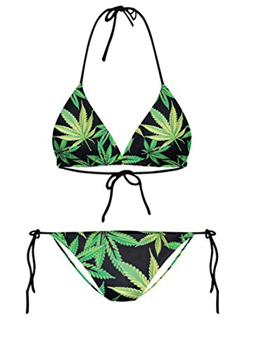 Thenice Damen Bikini-Set Rosa Galaxy Green Leaves 26oy6El