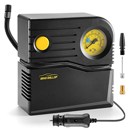 WindGallop Small Portable Air Compressor Tire Inflator with Pressure Gauge Car Tire Pump 12V DC Tire Compressor Electric Air Pump for Car Tires Bike Motorbike Tire Balls Other Inflatables