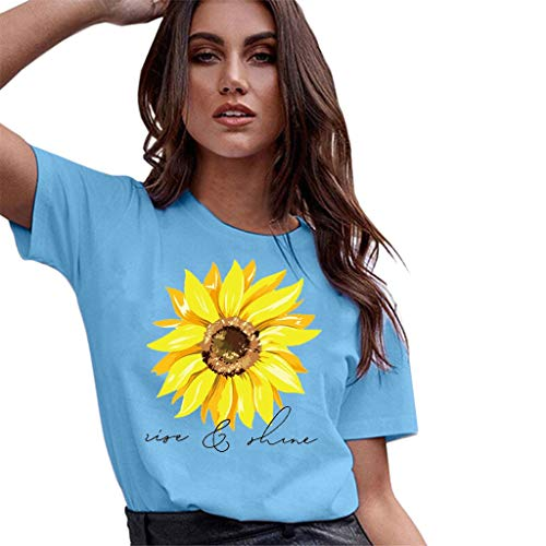 WUAI Plus Size Women's Casual Short Sleeve Sunflower Printed Graphic Basic Tee Summer Tops Shirts (Blue,XX-Large) -