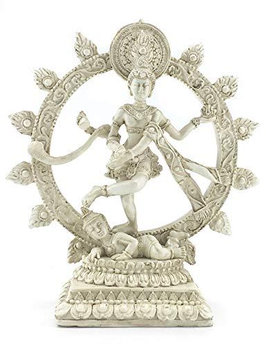 Bellaa 26966 Nataraja Dancing Statue White 6 Inch (Shiva Dancing In A Ring Of Fire)