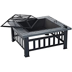 "Outsunny 32"" Metal Square Outdoor Patio Backyard Fire Pit with Cover"
