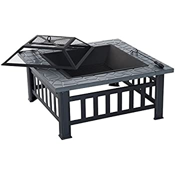 Outsunny 32-inch Steel Square Outdoor Patio Wood Burning Fire Pit Table Top Set