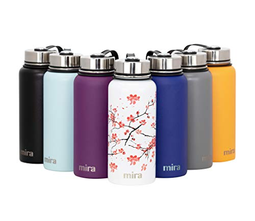 MIRA 22 Oz Stainless Steel Vacuum Insulated Wide Mouth Water Bottle | Thermos Keeps Cold for 24 Hours, Hot for 12 Hours | Double Walled Travel Flask | Cherry ()