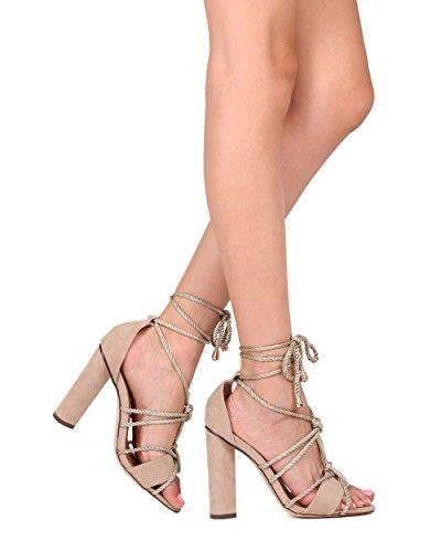 Alrisco Kvinnor Knutna Blockera Häl Sandal - Fotled Wrap Chunky Häl - Dressat Trendiga Mångsidig Elegant Häl - Hd12 Genom Kärlek Athena Naken Faux Mocka