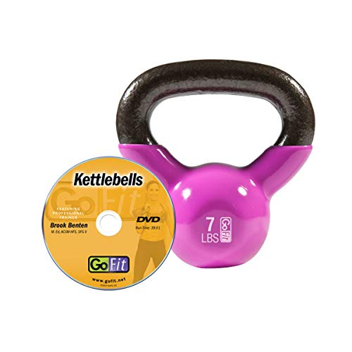 GoFit Premium Vinyl Dipped Kettle Bell with Introductory Training DVD – 20 Pounds