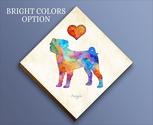 (Puggle Diamond Shaped Mounted Dog Art Print by Dan Morris )