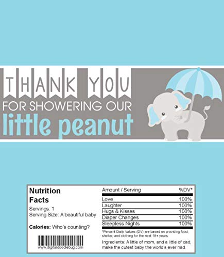 Candy Bar Wrappers Baby Shower Favors Set of 25 (Blue Elephant, NO foil or Tape)