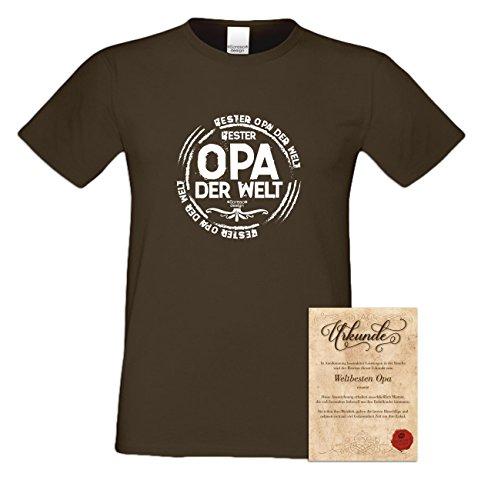 Großvater Fun-T-shirt als Top Geschenk mit GRATIS Urkunde - Bester Opa der Welt Farbe: royal-blau Gr: M