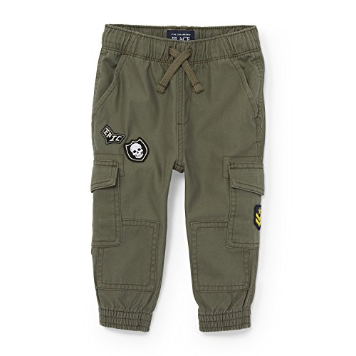 The Children's Place Baby Little Boys' Patched Cargo Fashion Pant, Dry Sage 88121, (Cargo Sage)