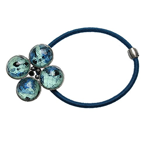 Tamarusan Ponytail Holder Cardigan Blue Four Round Hair Rubber Hair Ornament Blue Handmade by TAMARUSAN