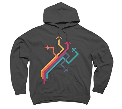 Colorful Vector Airplanes Men's Large Charcoal Graphic Pullover Hoodie