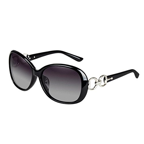 Daxin Stylish Lady Oversized Sunglasses Retro Plastic Frame Glasses Polarized Eyewear (BLACK)