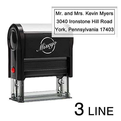 Miseyo Self Inking Custom Stamp Personalize Up to 3 Lines Rubber Return Address Stamp - 2 Ink Pads Included