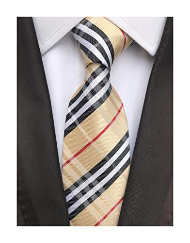Check Necktie - Secdtie Men's Brown Black White Checks Jacquard Woven Silk Tie Formal Necktie (One Size, Champagne Black)