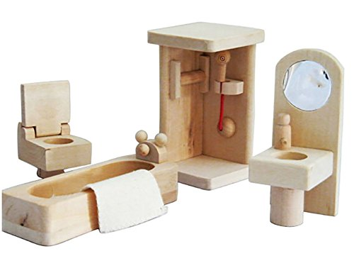 Mini Wooden Dollhouse Furniture Set, Bathroom