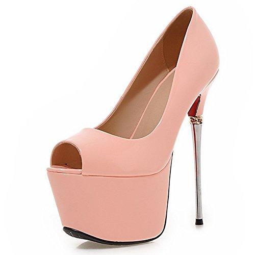 Metal de la moda talón las mujeres stiletto talón Peep Toe plataforma bomba de noche corte zapatos Rosa