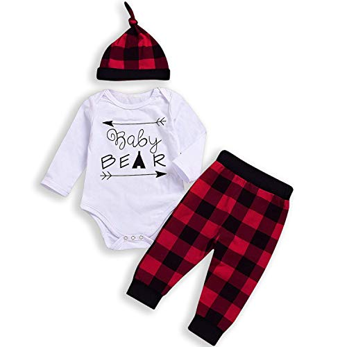 HappyMA Newborn Baby Boy Girl Long Sleeve Baby Bear Romper+Plaid Long Pants+Hat Outfits Clothes Set (0-3 Months)