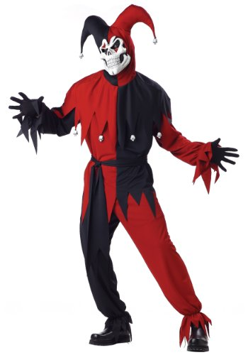 Disfraz De Bufon Halloween (California Costumes Men's Adult- Red Evil Jester, Black/Red, L (42-44))