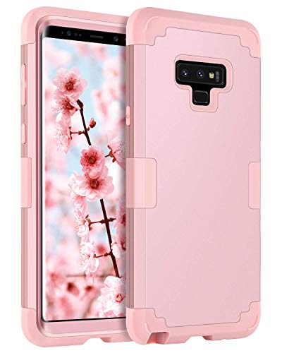 BENTOBEN Case for Samsung Galaxy Note 9,Full Body Shockproof Impact Resistant 3 in 1 Hybrid Hard PC Outer Shell and Soft Silicone Anti-Scratch Protective Phone Case for Samsung Note 9, Rose Gold