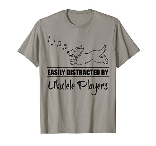 Running Dog Easily Distracted by Ukulele Players Whimsical T-Shirt
