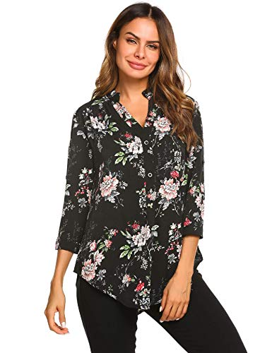 (Hersife Womens 3/4 Roll Sleeve Shirt V Neck Button Down Blouse Loose Tunic Tops)