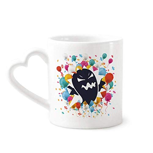 Angry Halloween Ghosts Festival Balloon Mug Coffee Cup Pottery Ceramic Heart Handle ()