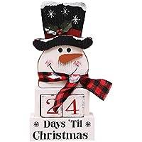 Qiuue Wooden Advent Countdown Santa Claus Calendar