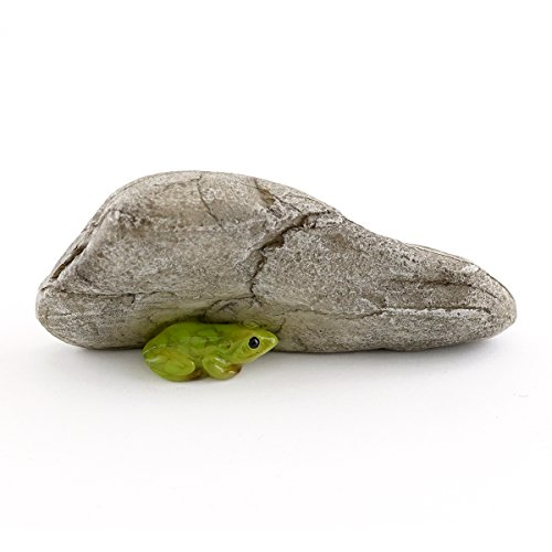 Top Collection Miniature Fairy Garden and Terrarium Mini Frog Under Rock Statue