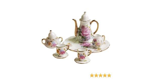 MagiDeal 8pcs Dollhouse Miniature Tableware Porcelain Tea Set Dish Cup Plate