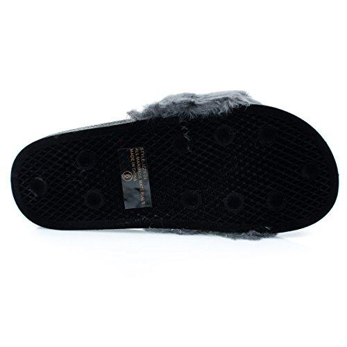 Soffice Pelliccia Pelosa In Ecopelle Singola Fascia Scorrevole In Pantofola Pantofola Sandalo Pieghevole Grigio