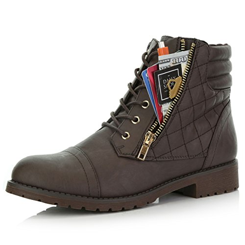 DailyShoes Women's Military Lace Up Buckle Combat Boots Ankle High Exclusive Credit Card Pocket, Brown Pu, 5.5