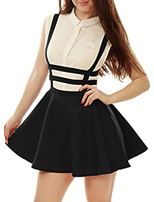 Allegra K Women's Elastic Waist Cut Out A Line Mini Halloween Suspender Skirt