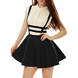 Allegra K Lady Elastic Waist Cut Out A Line Mini Suspender Skirt