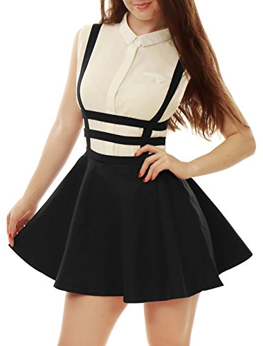 (Allegra K Women's Pleated A-Line Elastic Waist Braces Mini Suspender Skirt Black S (US 6))