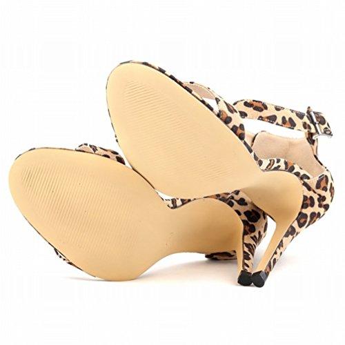 HooH Mujer Tacón alto Sandalias Verano Peep Toe Correa de tobillo Hebilla Zapatos de tacón Leopardo