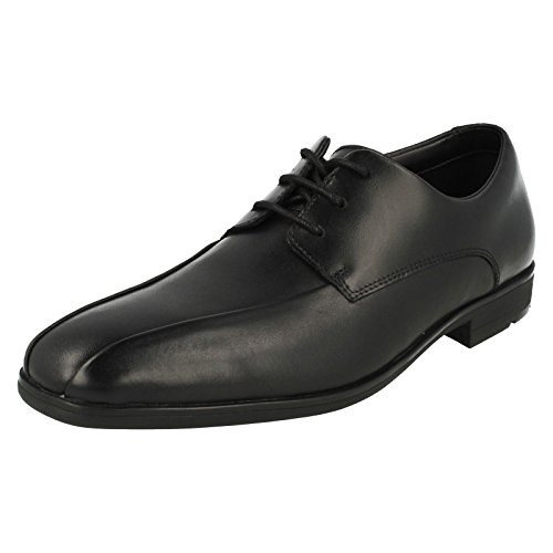 Clarks Willis Lad BL- Boys Formal Lace Up Shoe in Black Leather Black Leather